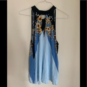 Free People Blue and Gold Top